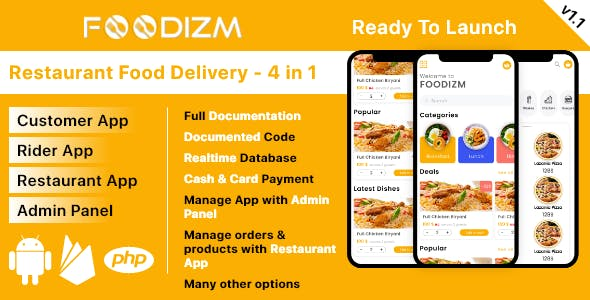 3in1 - Restaurant, Delivery boy, Customer and Admin Panel Food Ordering in Android with Firebase