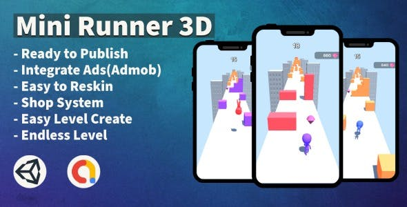Mini Runner 3D (Unity+Admob+Hypercasual+Android)