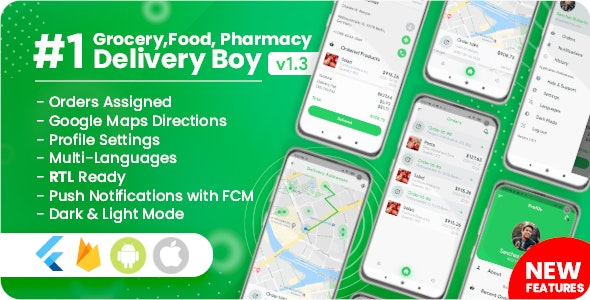 Delivery Boy for Groceries, Foods, Pharmacies, Stores Flutter App - CodeCanyon Item for Sale