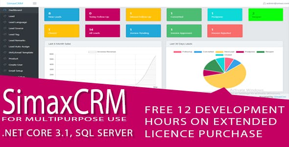 Simax CRM - Multipurpose CRM in Dot Net Core