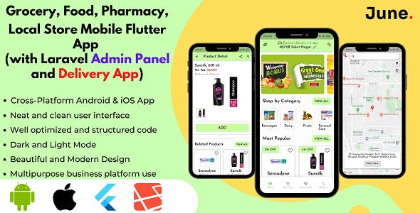 Grocery App and Delivery Boy App with Admin Panel - Foods and Pharmacy Store