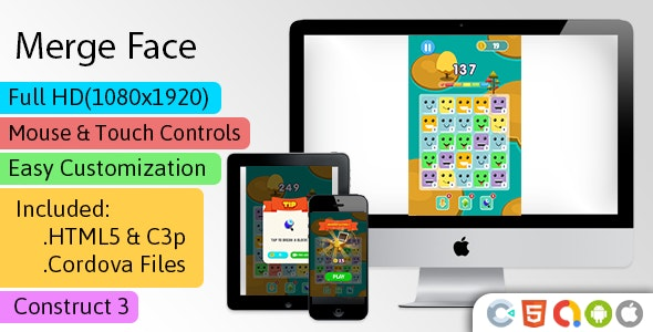 Merge Face - HTML5 Game (Construct 3 | C3p) - Merge Game str8face - CodeCanyon Item for Sale