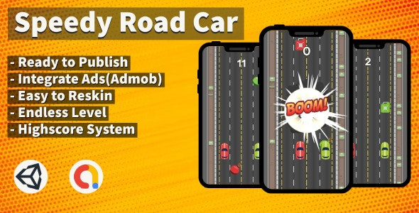 Speedy Road Car (Unity+Arcade+Android+Admob) - CodeCanyon Item for Sale