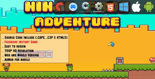 Ninja Frog Adventure - HTML5 Game - Web, Mobile and FB Instant games(CAPX, C3p and HTML5)