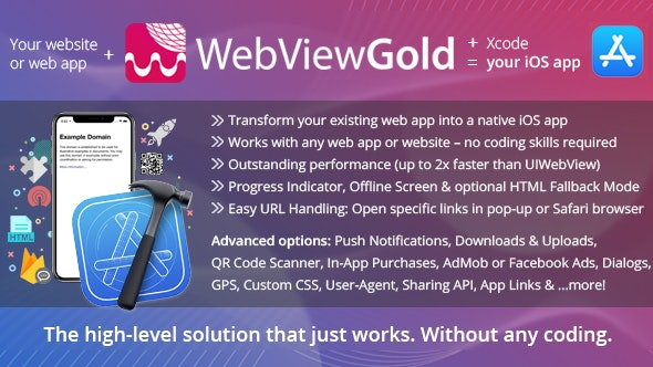 WebViewGold for iOS v8.9 – WebView URL/HTML to iOS app + Push, URL Handling, APIs & much more!