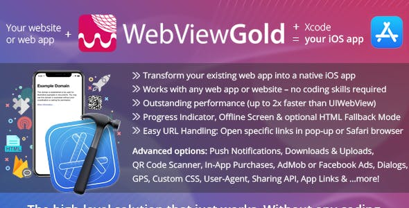 WebViewGold for iOS – WebView URL/HTML to iOS app + Push, URL Handling, APIs & much more!