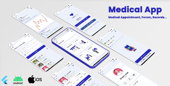 Medical App - Flutter UI Kit | Appointment, Medical Records & Forums | Android | IOS - CodeCanyon Item for Sale