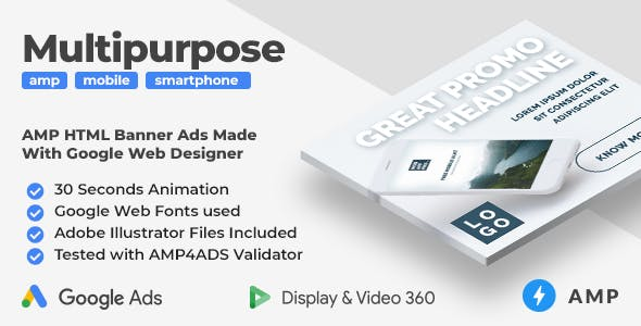 Multipurpose Animated AMP HTML Banner Ad Templates (GWD, AMPHTML)