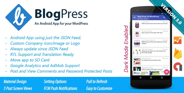 BlogPress - An Android App for your WordPress - CodeCanyon Item for Sale