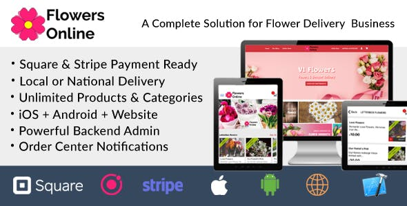 Flowers Florists Floristry Online Bouquet Ordering System (iOs + Android + Onwer App + Web + Admin)