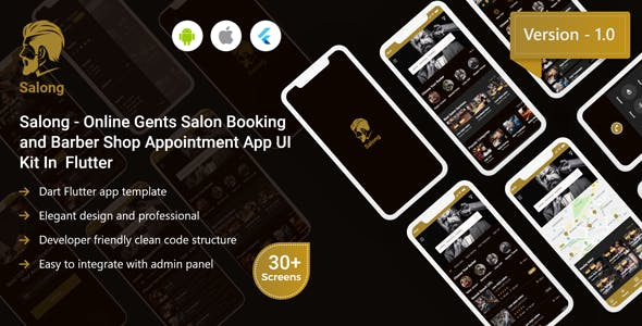 Salong - Online Salon Booking and Barber Shop Appointment App UI Kit