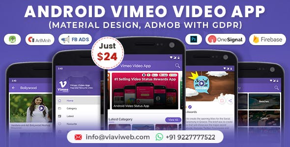 Android Vimeo Video App (Material Design,Admob with GDPR )