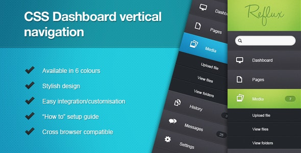 CSS Dashboard Vertical Navigation - CodeCanyon Item for Sale
