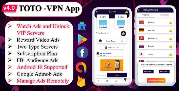 TOTO - VPN | VPN App | Facebook Ads | Admob Ads | Ads Manage Remotely | VPN  | VPN Subscription Plan