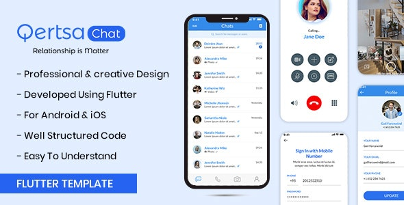 Qertsa - Flutter Chat App UI Template - CodeCanyon Item for Sale