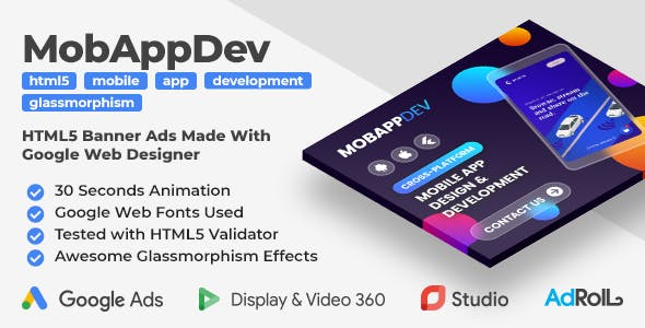 Mobile App Development - Animated HTML5 Banner Ad Templates (GWD)
