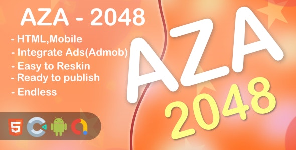 AZA - 2048 Game(Html5 + Construct 3 +Mobile) - CodeCanyon Item for Sale