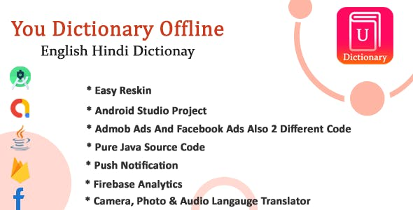 U-Pro dictionary app with All Languages Translator with Admob and Facebook Ads Integration