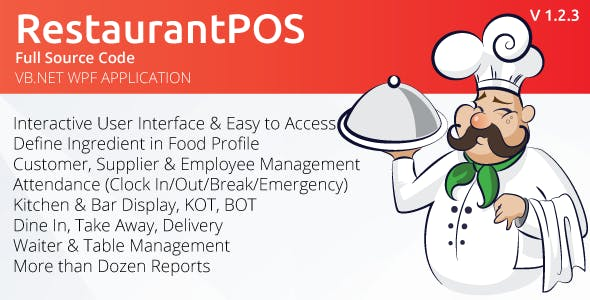 RestaurantPOS - VB.NET WPF Application With Free ASP.NET Web extension