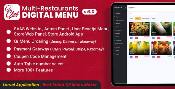 CHEF - SaaS - Contactless Multi-restaurant QR Menu Maker