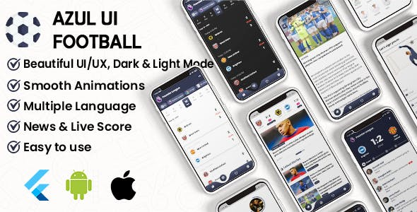 Flutter Football UI Kit: LiveScore & Chats Matches & News Sport ( ANDROID, IOS )