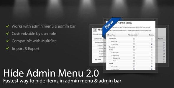 WordPress Hide Admin Menu Plugin - CodeCanyon Item for Sale