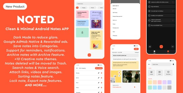 Noted - Full Native Android Notes, Notepad and To-Dos App with Clean & Minimal UI