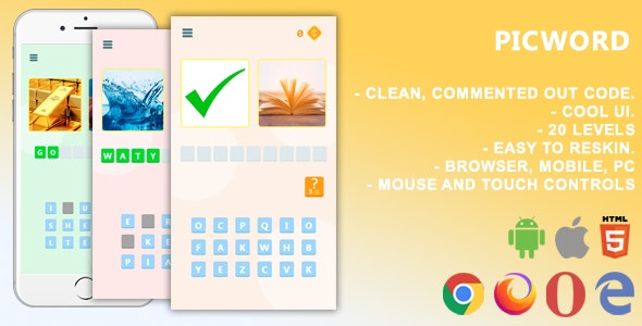 Picword. Mobile, Html5 Game .c3p (Construct 3) - CodeCanyon Item for Sale