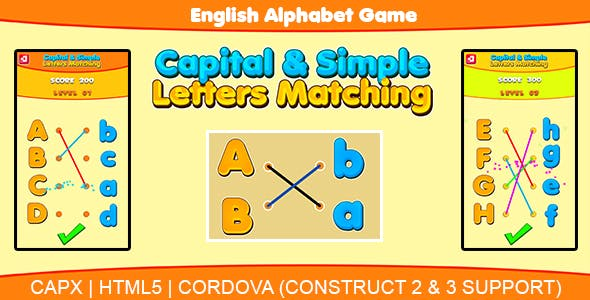 Capital & Simple Letters Matching (HTML5 | CAPX | Cordova) Kids Learning Game