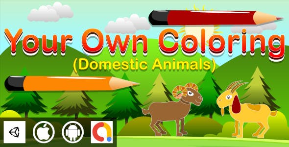 Edukida - Your Own Coloring Domestic Animals Unity Kids Game With Admob ad For Android and iOS