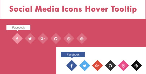 Social Media Icons Hover Tooltip