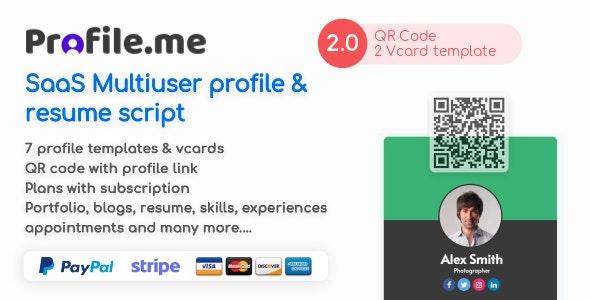 Profile.me v2.0 – Saas Multiuser Profile Resume & Vcard Script