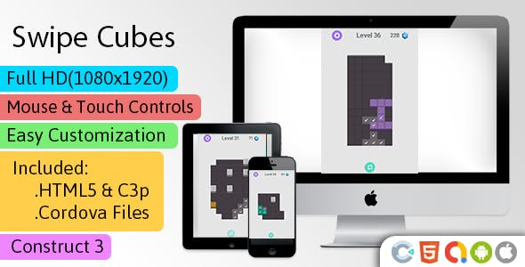 Swipe Cubes - HTML5 Game (Construct 3 | C3p) - Puzzle Game str8face
