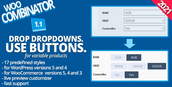 WooCombinator for variable products - Turn your boring dropdowns into buttons! - CodeCanyon Item for Sale