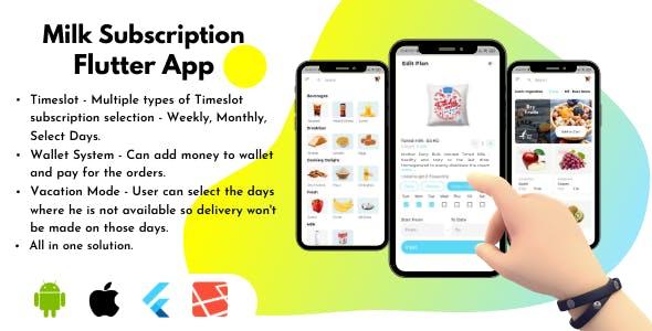 Milk Subscription Flutter App UI Kit- Grocery, Water, Vegetables