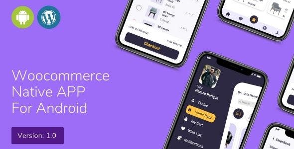 Ecommerce/Woocommerce native android app UI template with material design