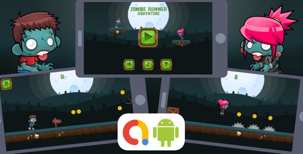 Zombie Runner Adventure Android Game with AdMob + Ready to Publish