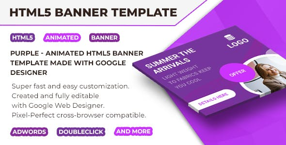 Purple - Html5 Animated Banner Template V5