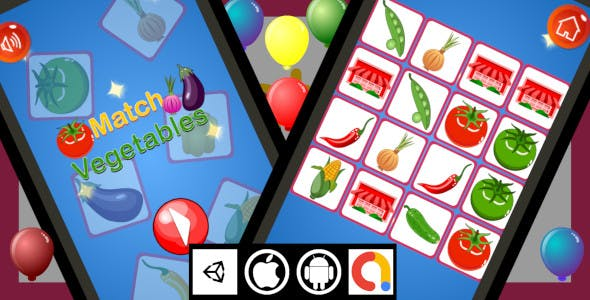 Edukida - Match Vegetables Unity Kids Game With Admob For Android and iOS