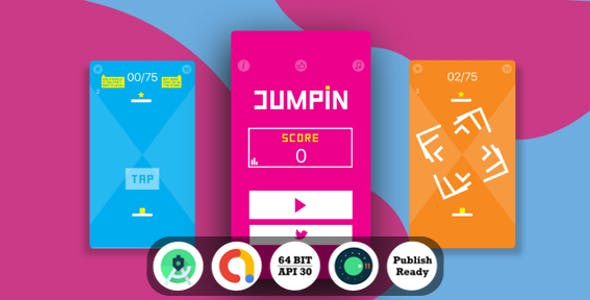 Jumpin Android Game with Admob Ads + reward video + Android Studio + ready to publish