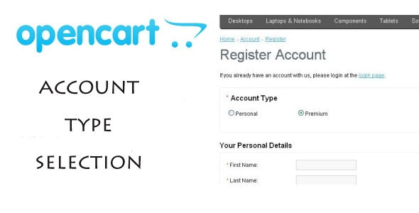 OpenCart Add Account Type (VQMOD) - CodeCanyon Item for Sale