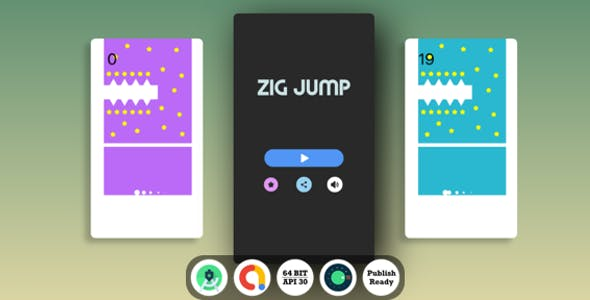 ZIG Jump Android Game with Admob Ads + reward video + Android Studio + ready to publish