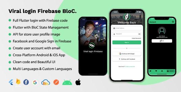 Viral Login Firebase BloC Full App - CodeCanyon Item for Sale