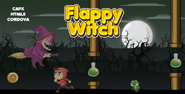 Flappy Witch Game (CAPX | HTML5 | Cordova) Endless Game