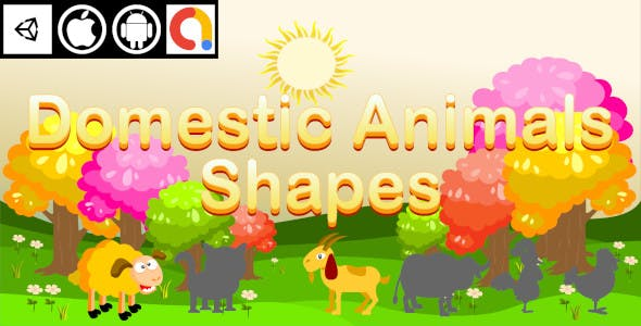Edukida - Domestic Animals Shapes Unity Kids Game With Admob For Android and iOS