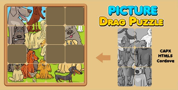 Picture Drag Puzzle Game (CAPX | HTML5 | Cordova) Kids Game