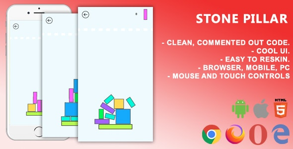 Stone Pillar. Mobile, Html5 Game .c3p (Construct 3) - CodeCanyon Item for Sale