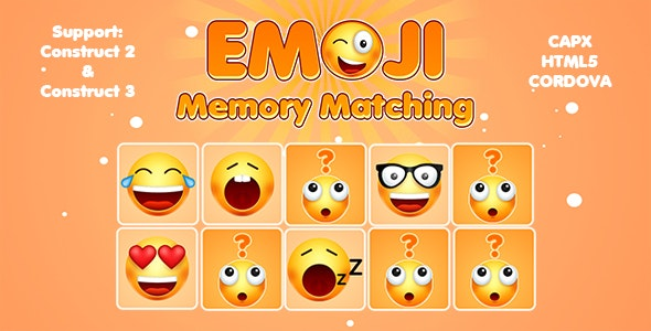 Emoji Memory Matching Card Game (CAPX | HTML5 | Cordova) Puzzle Game - CodeCanyon Item for Sale