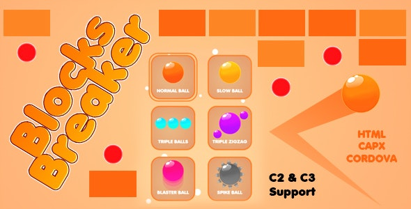 Blocks Breaker Game (CAPX | HTML5 | Cordova) - CodeCanyon Item for Sale