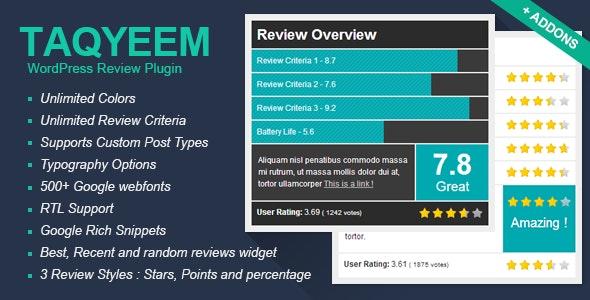 Taqyeem - WordPress Review Plugin - CodeCanyon Item for Sale